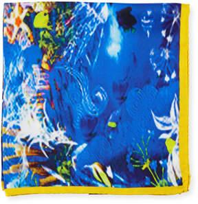 Bugatchi Ocean-Print Silk Pocket Square