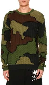 Moschino Camouflage Virgin Wool Patchwork Sweater