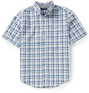 Roundtree & Yorke Big and Tall Cooler Comfort Seersucker Short-Sleeve Multi Gingham Sportshirt