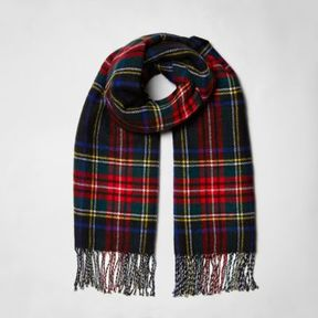 River Island Womens Black plaid check double sided scarf
