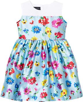 Oscar de la Renta White and Blue Floral Party Dress