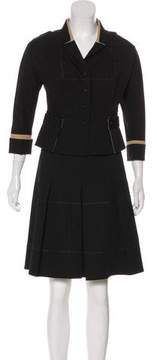Long Sleeve Button-Up Skirt Set in black