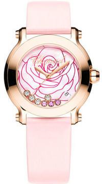 Chopard Happy Sport La Vie En Rose Diamond 18k Rose Gold Ladies Watch