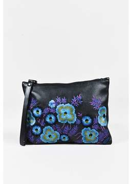 Christopher Kane Pre-owned Black Leather Multi Floral Embroidered Wristlet Clutch.