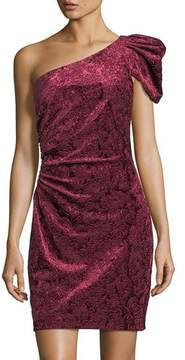 Aidan Mattox One-Shoulder Velvet Mini Cocktail Dress
