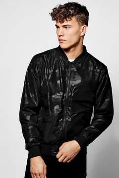 boohoo Black Camo Printed Bomber Jacket
