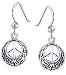 Celtic Bling Jewelry .925 Silver Peace Sign Knotwork Drop Earrings.