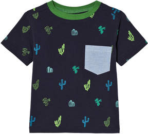 Andy & Evan Navy Pocket T-shirt with Cacti Print