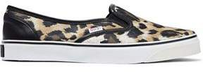 RED Valentino Leather-Trimmed Leopard-Print Satin Slip-On Sneakers