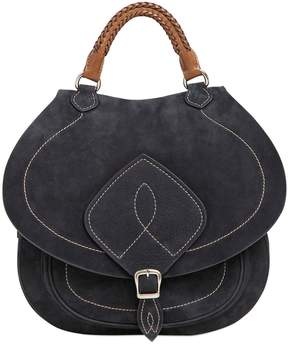 Large Saddle Nubuck Top Handle Bag