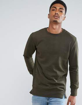 Brave Soul Longline Sweatshirt with Zips
