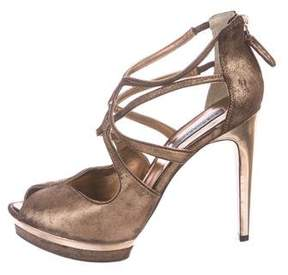 BCBGMAXAZRIA Metallic Cage Sandals