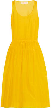 Diane von Furstenberg Pleated Cotton And Silk-blend Gauze Dress - Yellow