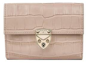 Aspinal of London Small Mayfair Purse In Deep Shine Sage Small Croc