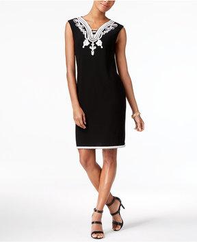 Alfani Soutache-Trim Shift Dress, Created for Macy's