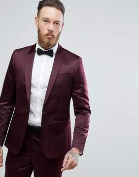 Asos Slim Tuxedo Suit Jacket in Burgundy Sateen