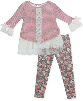 Rare Editions 2-Pc. Lace Sweater & Leggings Set, Baby Girls (0-24 months)