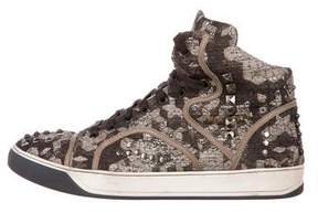 Lanvin Canvas Studded Sneakers