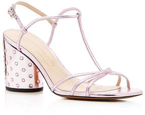 Marc Jacobs Sheena Metallic Leather Embellished T Strap Sandals