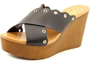 Callisto Priya Open Toe Leather Wedge Sandal.
