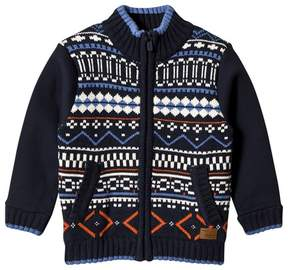 Pepe Jeans Navy and Multi Fairisle Knit Front Zip Jacket