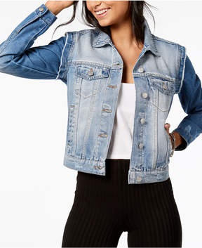 Almost Famous Crave Fame by Juniors' Raw-Edged Denim Jacket