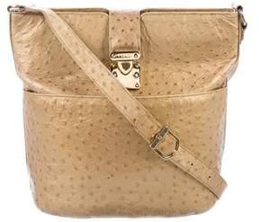 Fendi Vintage Metallic Ostrich Crossbody Bag