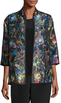 Caroline Rose Moody Blooms Printed Easy Jacket, Petite