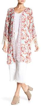Democracy 3/4 Length Fringe Sleeve Open Kimono