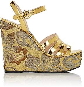 Prada Women's Leather & Brocade Wedge Sandals