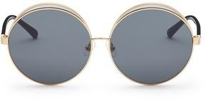 No.21 Colourblock metal oversized round mirror sunglasses