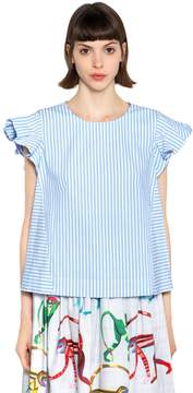 Stella Jean Boxy Fit Ruffled Striped Cotton Top