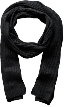 Portolano Men's Black Ribbed Cashmere Scarf