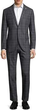 Lubiam Men's Printed Notch Wool Suit