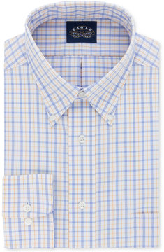 Eagle Men's Classic-Fit Non-Iron Stretch Collar Cornflower Check Dress Shirt