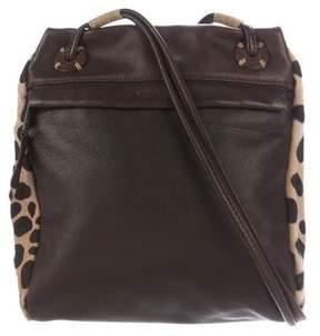 Carlos Falchi Ponyhair-Trimmed Leather Crossbody Bag