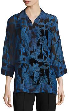 Escada 3/4-Sleeve Raffia-Print Tunic