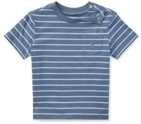 Ralph Lauren | Striped Cotton Jersey T-Shirt | 6-12 months | Capri blue/bluebell