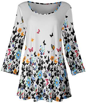 Lily White & Black Floral Swing Tunic - Women & Plus