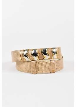 Judith Leiber Pre-owned Taupe Beige Karung Snakeskin Embellished Buckle Belt.