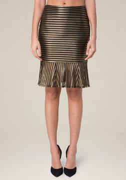 Bebe Gold Stripe Mermaid Skirt