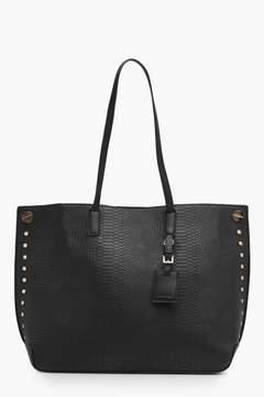 boohoo Snake Effect Studded Shopper Bag
