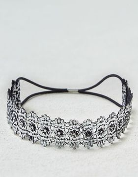 American Eagle Outfitters AE Metallic Silver Lace Headband
