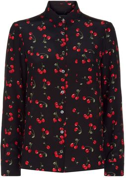 Chinti and Parker Silk Cherry Printed Shirt