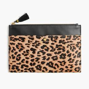 Large pouch in calf hair and leather