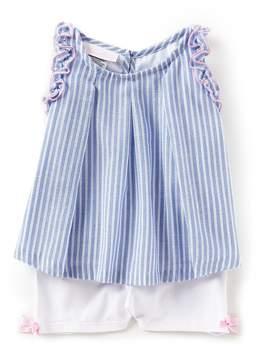 Bonnie Jean Bonnie Baby Baby Girls Newborn-24 Months Striped Chambray Top & Knit Shorts Set