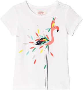 Catimini White Glitter Flamingo Print T-Shirt