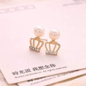 Alpha A A Silver Tone Crown Earrings
