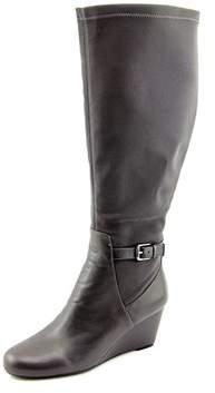 Isaac Mizrahi Krystal Wide Calf Round Toe Leather Knee High Boot.