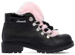 Simonetta Nappa Leather & Lapin Fur Ankle Boots